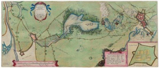 Kaart van de oorspronkelijke waterlinie, getekend door Professor Fransiscus van Schoten in 1629