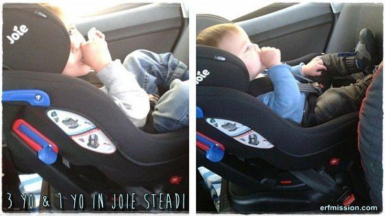 3yo & 1yo enjoying the Steadi in a VW Polo-55 plate.