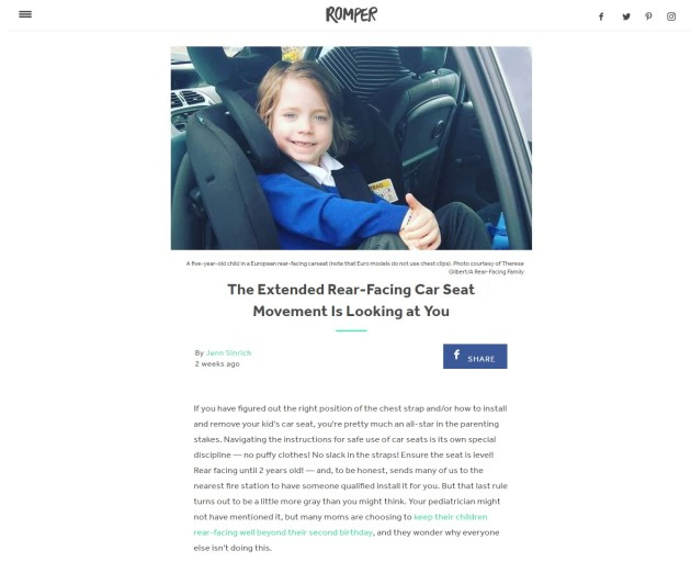 The Extended Rear-Facing Car Seat Movement Is Looking at You