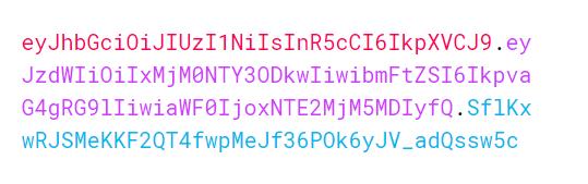 Örnek bir JSON Web Token