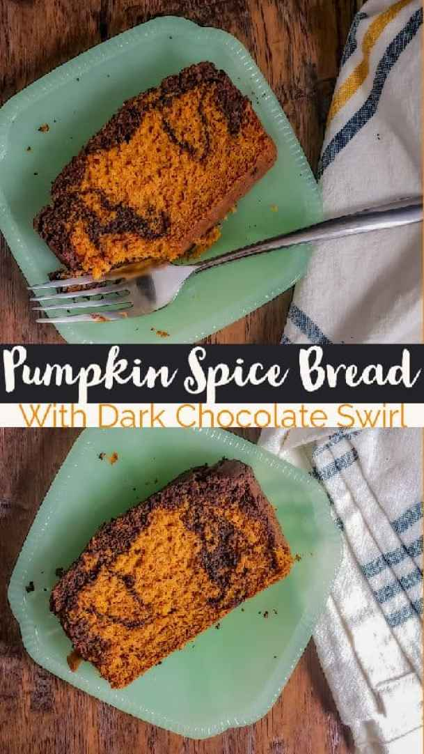 "Pin for the pumpkin spice loaf cake recipe. The picture is the same as the featured image. It has two pieces of bread on glass teal plates on a wooden surface. On the right there is a white, blue and yellow plaid towel and the top plate has a silver fork. In the middle is black and orange text saying ""pumpkin spice bread with dark chocolate swirl"""