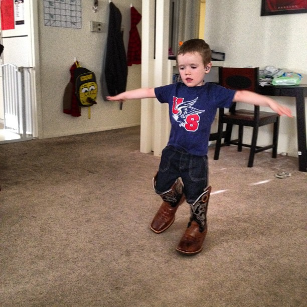 Hero in daddy's boots