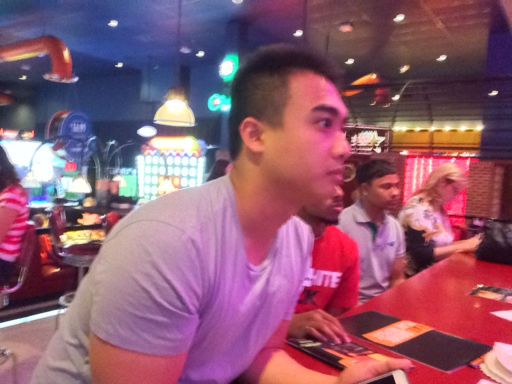Hieu and Muminur at Dave and Busters