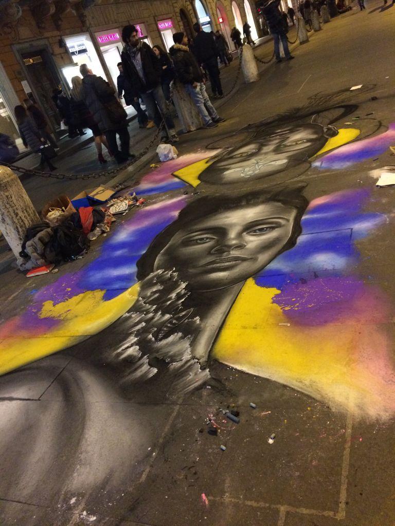 Chalk art on Via del Corso