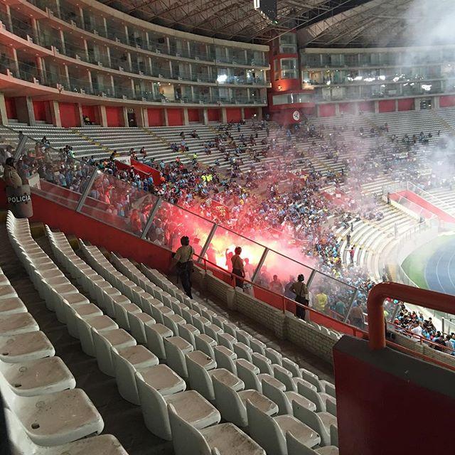 Still photo of the flare at Sporting Cristal vs. Peñarol game.