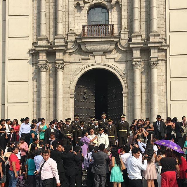 Happened to come upon a wedding in city center of Lima.