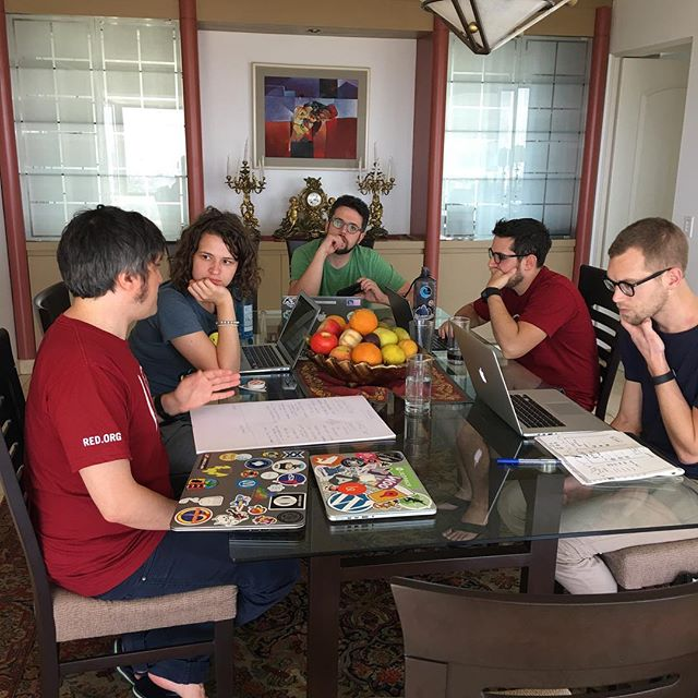 Javi, Valerie, Rocco, Joey, and Rick doing a bit of work and discussion.