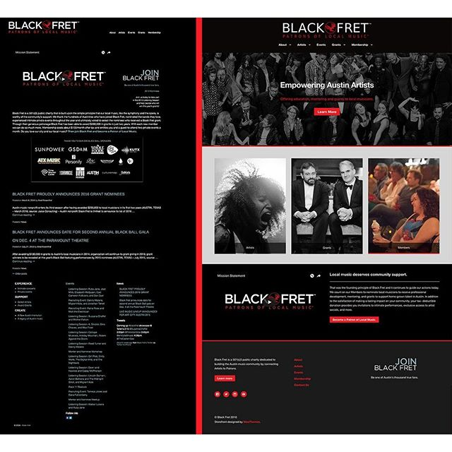 Before and after Black Fret home page after #do_action!