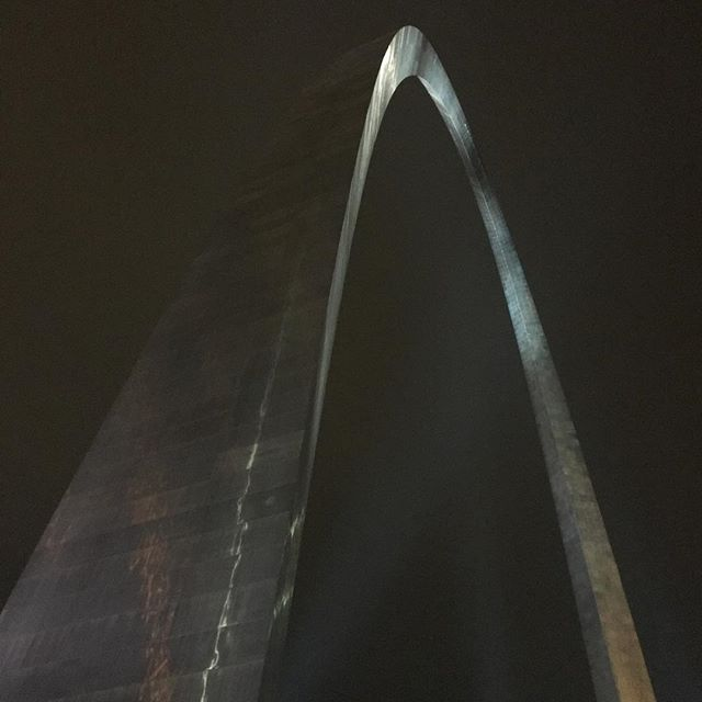 St. Louis Gateway Arch up close at night.