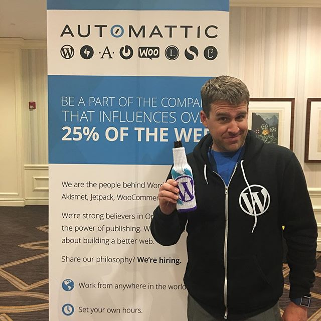 @timmycrawford modeling the new WordPress freaker swag #phptek