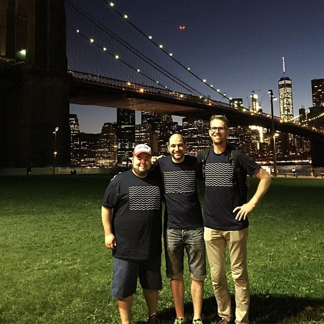 Got a picture with Enej and Dan near the Brooklyn bridge.