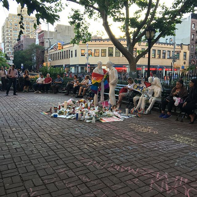 Many were mourning Orlando at Christopher Park.
