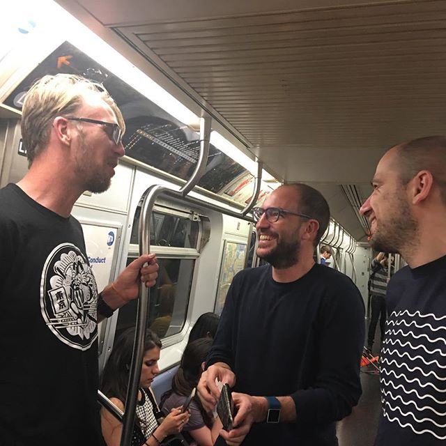 Team Podeidon on a train in NYC.