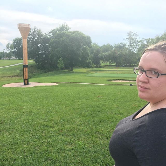 She caught me taking her picture at the world's largest golf tee. That face. 😂