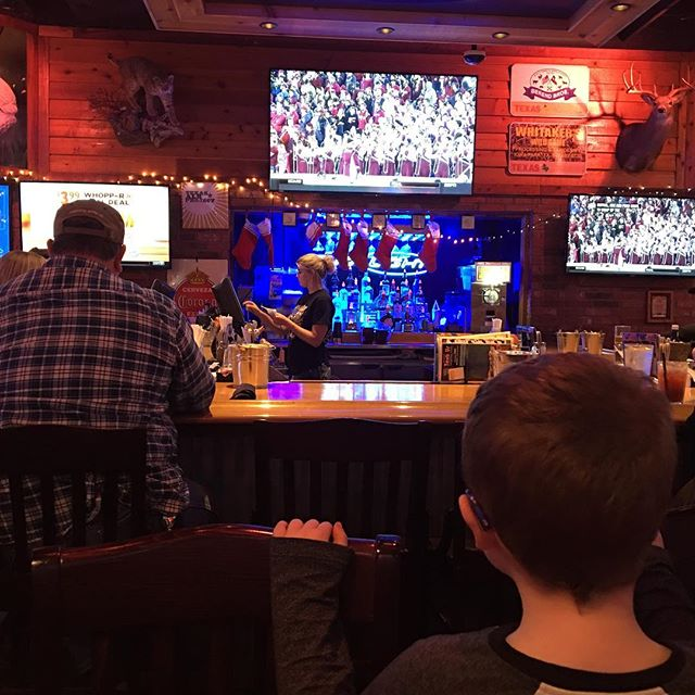Went to Texas Roadhouse for Sara's birthday. Took a picture of Hero when he turned around for a bit, to watch the game I suppose.