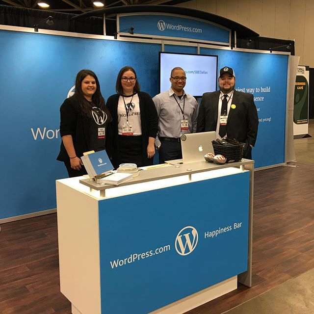 Working the @wordpressdotcom booth with some friends at #smallbizexpo. Come see us to talk about hosting your business site. #WordPressSBE