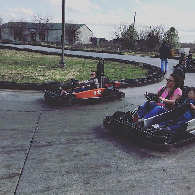 Destiny driving her own go-kart at The Plex.