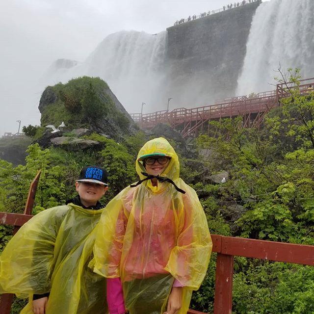 The kids at Cave of the Winds at Niagara Falls.