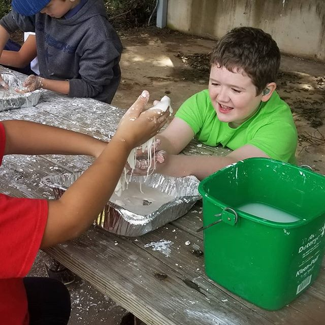 The kids got to play with non-newtonian fluids today, which Hero really enjoyed