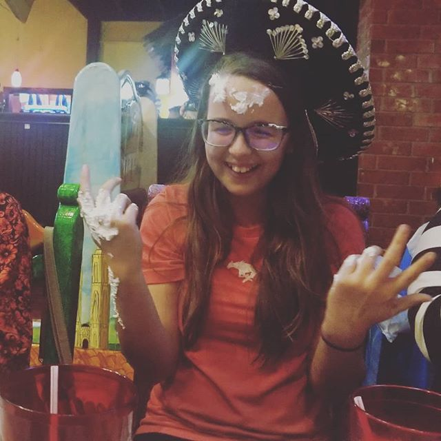 Destiny got a pie in the face for her Birthday at El Tapatio 🤣