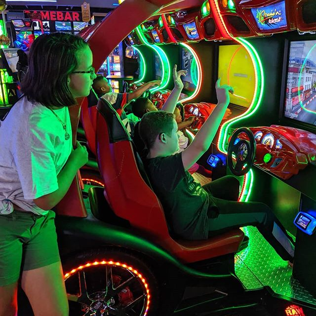Took the kids to Dave and Buster's this past Sunday after the pistol match. They both have a thing for racing games.