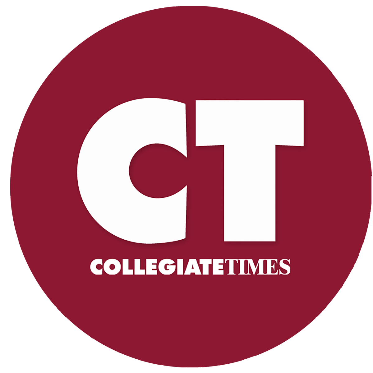 """A maroon circle with white text that reads """"CT: Collegiate Times."""""""