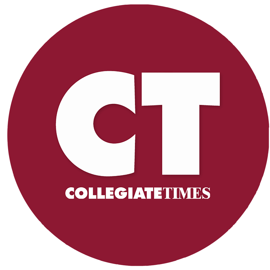 "A maroon circle with white text that reads ""CT: Collegiate Times."""