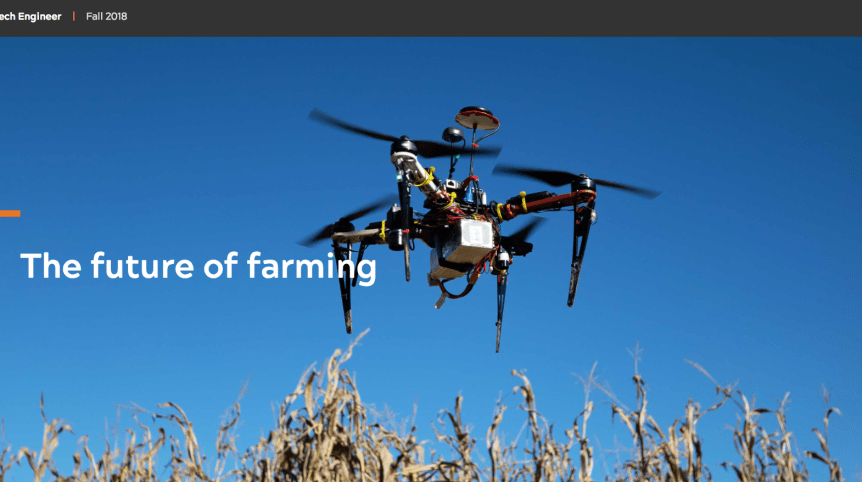 "Screenshot of an image of a drone hovering above corn stalks. The words ""The future of farming"" appear below."