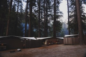 A photo of a campsite in the evening with smoke rising through tall trees.