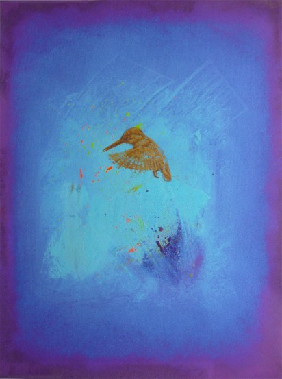 Sold 7/15 print Resurgence 01A3 Limited Edition Giclee print with gold screen printed Kingfisher