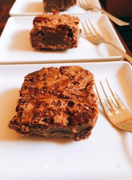 Brownies with tea at Rosevear Tea, Bruntsfield, Edinburgh