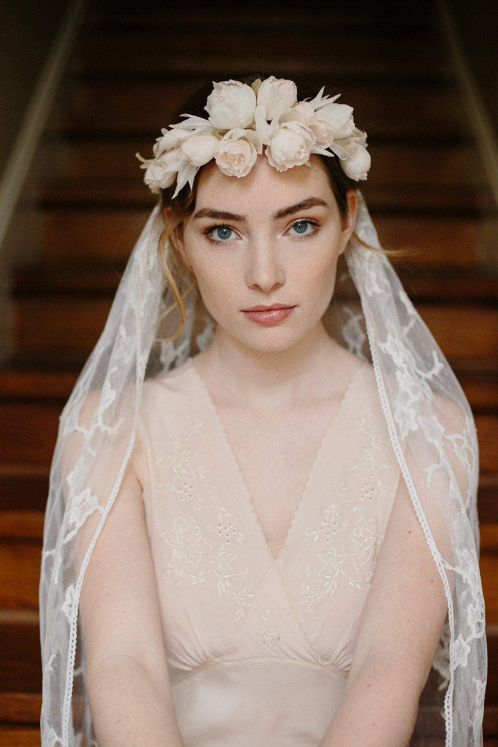 Bridal Silk Flower Crown Boho Chic Chantilly Lace Wedding Veil