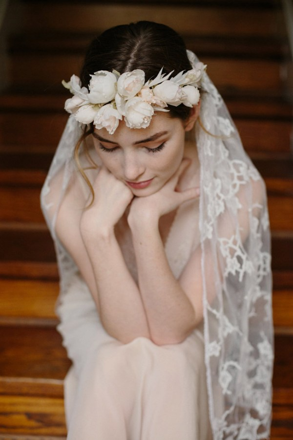 HEART & SOUL FLOWER CROWN AND LACE VEIL