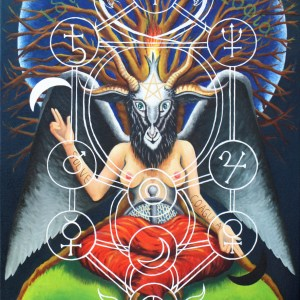 Goddess Baphomet sits on the earth with planetary spheres illustrated.