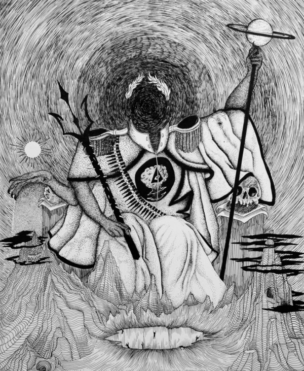 A black hole looms beyond Shaitan, holding the power of Saturn. The sun is blocked out by the hand of Shaitan.