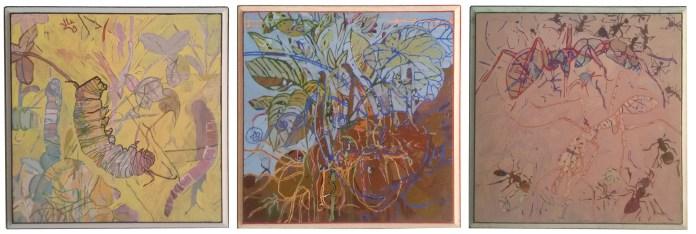 Dipingere, come mettere le mani nella terra. Scavare e trovare di tutto sul cammino. Sassolini, radici, vermi ... Soffermarsi, osservare, disegnare. Disegnare e ancora disegnare i reperti incontrati. Posarli con cautela sulla tela, sulla tavola di legno. Disporli, sovrapporli. Alcune parti vengono nascoste, perse. Anche le radici o il seme di una pianta vengono ricoperte. Ma poi c'è l'attesa, la riscoperta, la fioritura di una foglia, di un fiore.