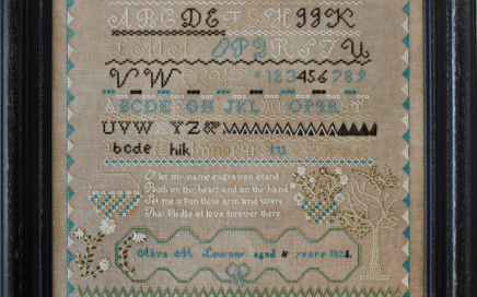 Abra Lowney, 1825 | Original counted thread designs by Linda Stolz for Erica Michaels Designs | EricaMichaels.com