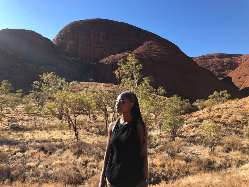 adventure travel blogger Erica Rascon hikes Kata Tjuta