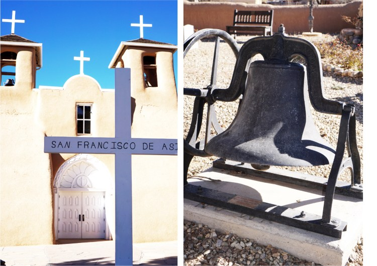 San Francisco de Asís Church crosses and bell, Taos, New Mexico, USA