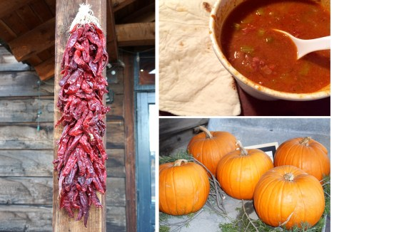 Red chile pod ristra hanging from wood beam on porch, bowl of red chili with tortilla, pumpkins at Michael's Kitchen, Taos, New Mexico, USA © 2018 ericarobbin.com | All rights reserved.