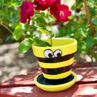 Bee Terra Cotta Flower Pot