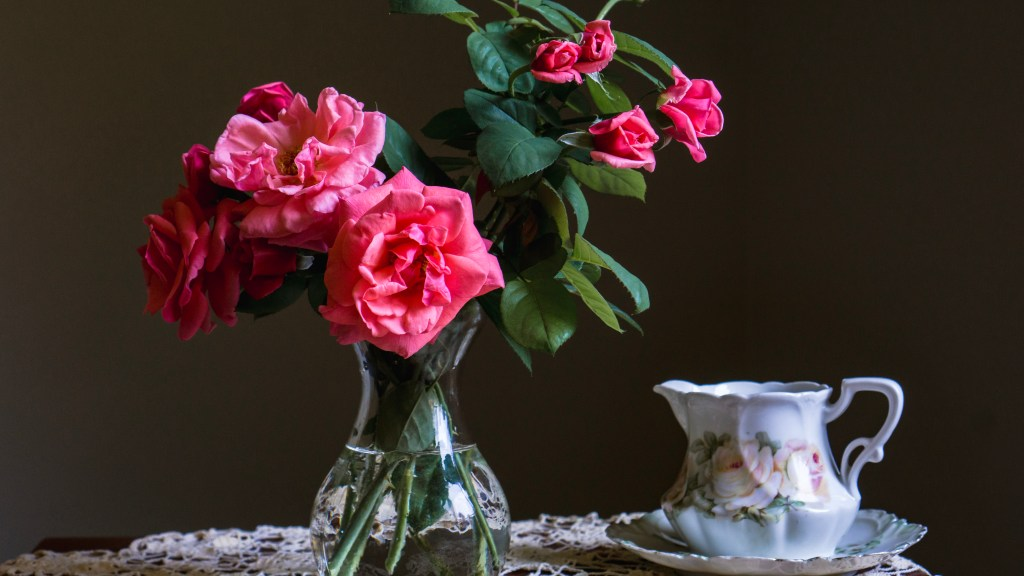 Roses in Vase with Creamer and Saucer Still Life | Erica Robbin