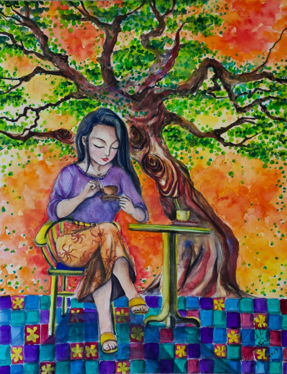 Evening Tea (watercolor)   SillySallySomething