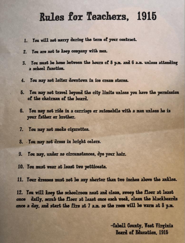 1915 School Rules | Erica Robbin