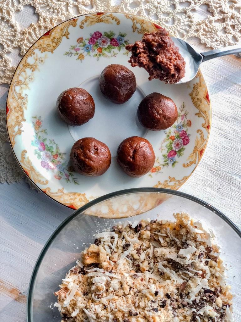 Chocolate Roasted Hazelnut No-Bake Coconut Date Balls Rolled   Erica Robbin