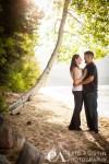 Engaged couple kiss under aspen tree South Lake Tahoe CA