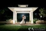 Karen & Jake Share a kiss under the gazebo at Promenade & Gardens by Turnip Rose Costa Mesa, CA