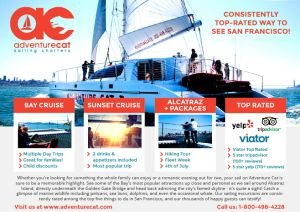ad design for Adventure Cat Sailing Charters featuring their top packages and reviews