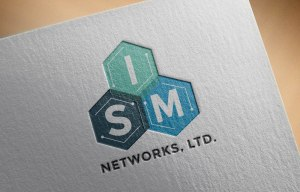 modern and geometric logo design shown on letterhead for ISM Networks, LTD.