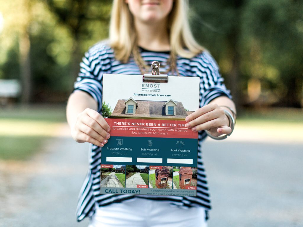 5x7 inch flyer for Knost Home Solutions showing their services, before and after photos, and contact details